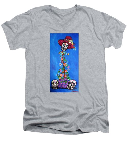 Dia De Los Muertos Men's V-Neck T-Shirt by Pristine Cartera Turkus