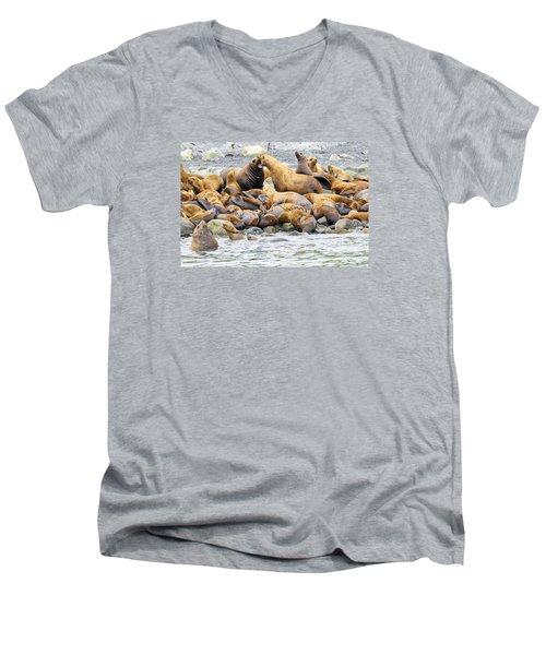 Disagreement Men's V-Neck T-Shirt by Harold Piskiel
