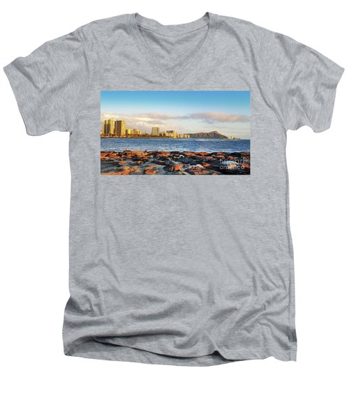 Men's V-Neck T-Shirt featuring the photograph Diamond Head, Waikiki by Kristine Merc
