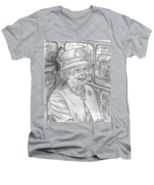 Men's V-Neck T-Shirt featuring the drawing Diamond Jubilee by Teresa White
