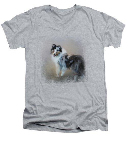 Did You Call Me - Blue Merle Shetland Sheepdog Men's V-Neck T-Shirt by Jai Johnson
