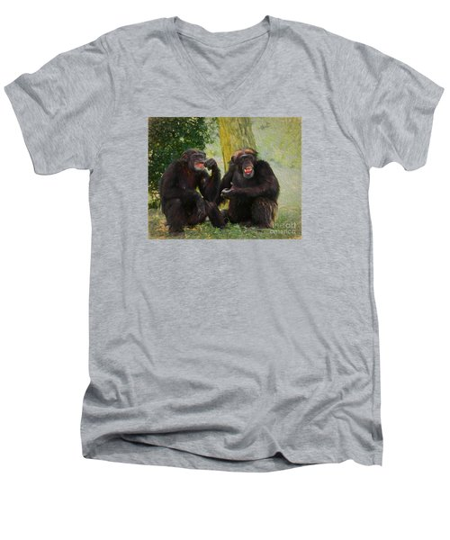 Men's V-Neck T-Shirt featuring the painting Did You See That by Judy Kay