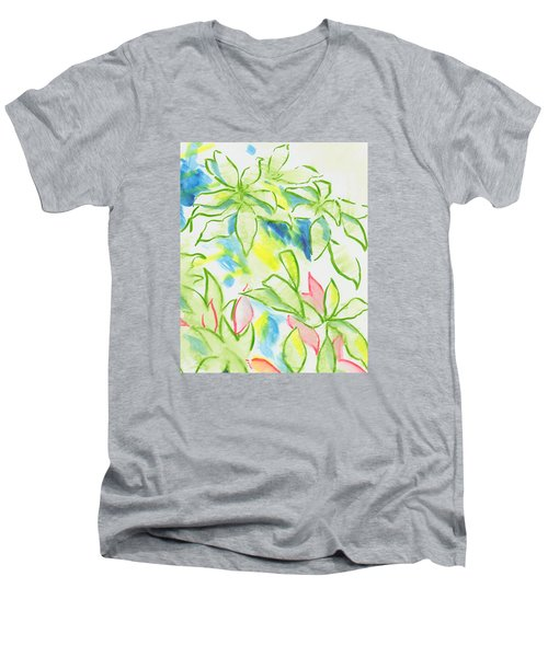 Different Coloured Hydrangea Leaves - Green Red Yellow Men's V-Neck T-Shirt