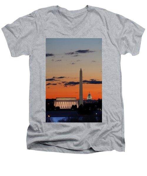 Digital Liquid -  Monuments At Sunrise Men's V-Neck T-Shirt