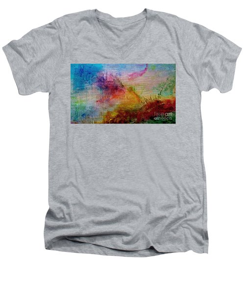 Men's V-Neck T-Shirt featuring the painting 1a Abstract Expressionism Digital Painting by Ricardos Creations