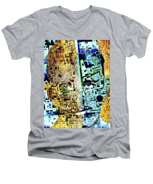 Men's V-Neck T-Shirt featuring the painting Dillinger by Tony Rubino