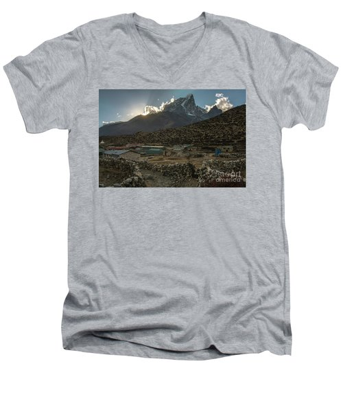 Men's V-Neck T-Shirt featuring the photograph Dingboche Evening Sunrays by Mike Reid