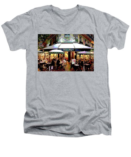 Dining Out Men's V-Neck T-Shirt by Charles Shoup