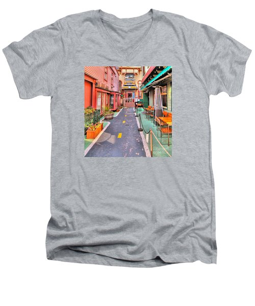 Men's V-Neck T-Shirt featuring the photograph Dink's Taxi Bar Harbor by Debbie Stahre