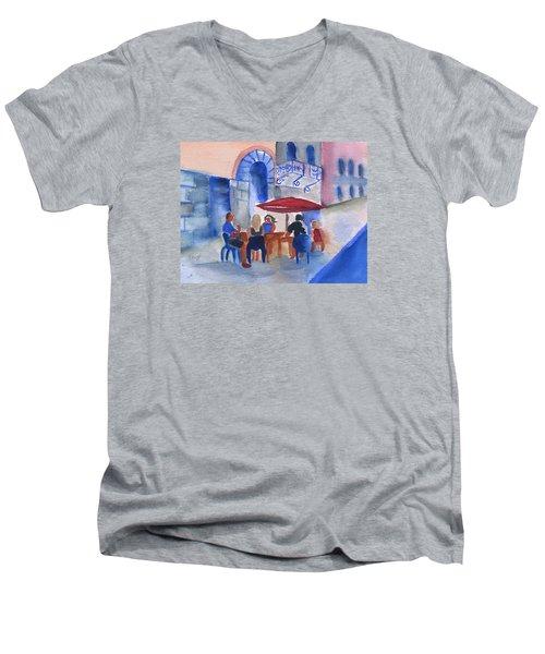 Dinner In Old San Juan Men's V-Neck T-Shirt by Frank Bright