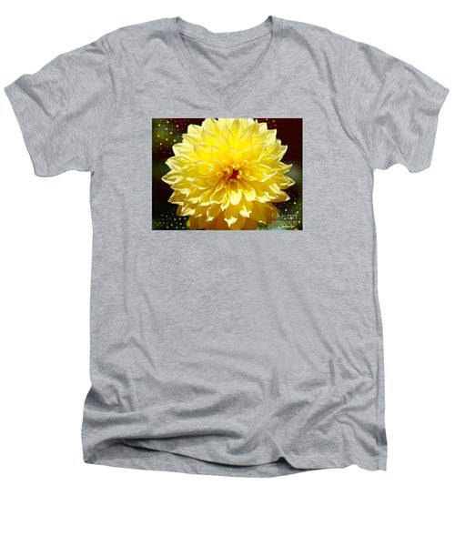 Dinner Plate Dahlia In Starry Sky Men's V-Neck T-Shirt