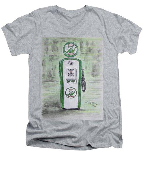 Dino Sinclair Gas Pump Men's V-Neck T-Shirt