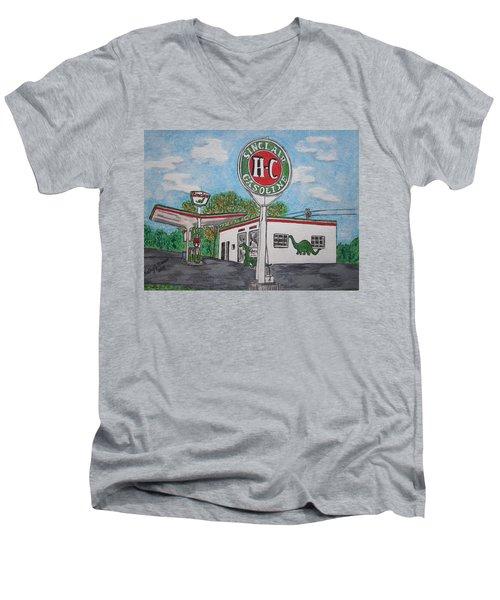 Dino Sinclair Gas Station Men's V-Neck T-Shirt