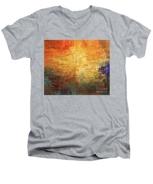 Men's V-Neck T-Shirt featuring the painting Dinosaur Lowlands by Tatiana Iliina