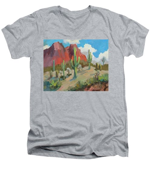Men's V-Neck T-Shirt featuring the painting Dinosaur Mountain by Diane McClary