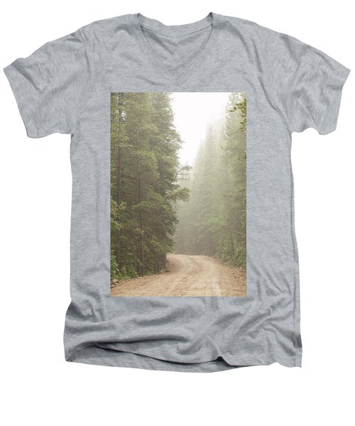 Men's V-Neck T-Shirt featuring the photograph Dirt Road Challenge Into The Mist by James BO Insogna