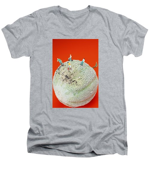 Men's V-Neck T-Shirt featuring the painting Dirty Cleaning On Sweet Melon Little People On Food by Paul Ge