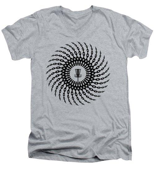 Disc Golf Basket Chains Men's V-Neck T-Shirt by Phil Perkins