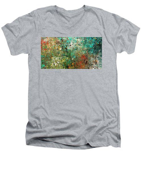 Men's V-Neck T-Shirt featuring the painting Discovery - Abstract Art by Carmen Guedez