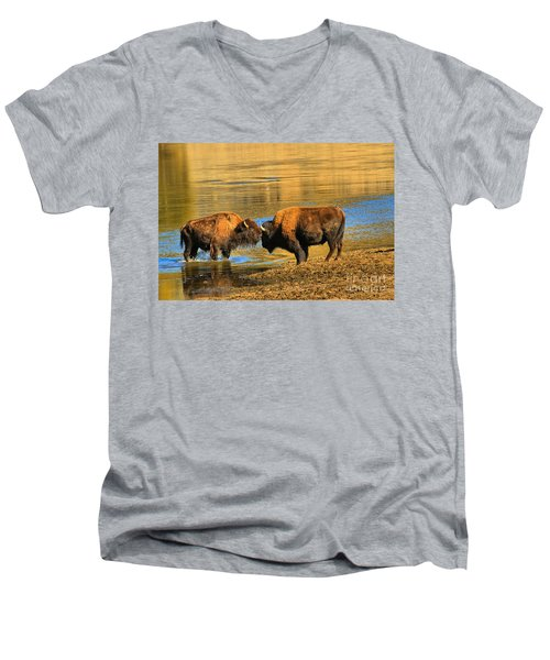 Men's V-Neck T-Shirt featuring the photograph Discussing The Crossing by Adam Jewell