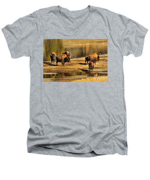 Men's V-Neck T-Shirt featuring the photograph Discussing The River Crossing by Adam Jewell