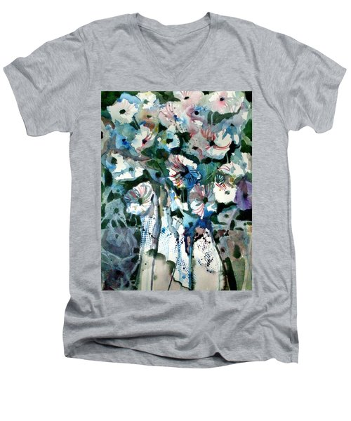 Men's V-Neck T-Shirt featuring the painting Disney Petunias by Mindy Newman