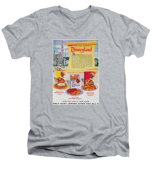 Disneyland And Aunt Jemima Pancakes  Men's V-Neck T-Shirt