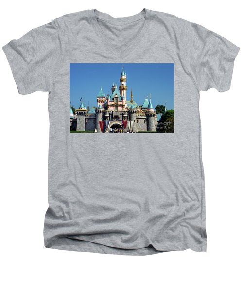 Men's V-Neck T-Shirt featuring the photograph Disneyland Castle by Mariola Bitner