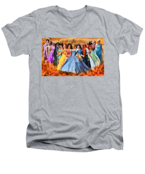 Disney's Princesses Men's V-Neck T-Shirt