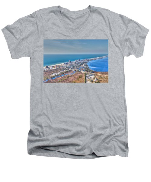 Distant Aerial View Of Gulf Shores Men's V-Neck T-Shirt