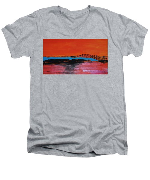 Distant City Men's V-Neck T-Shirt by Haleh Mahbod