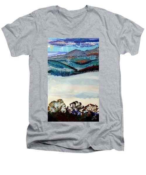 Distant Hills And Mist In The Lowlands Landscape Men's V-Neck T-Shirt