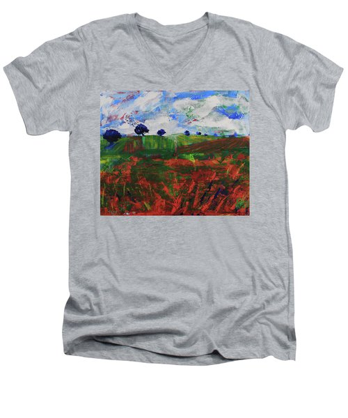 Men's V-Neck T-Shirt featuring the painting Distant Vineyards by Walter Fahmy