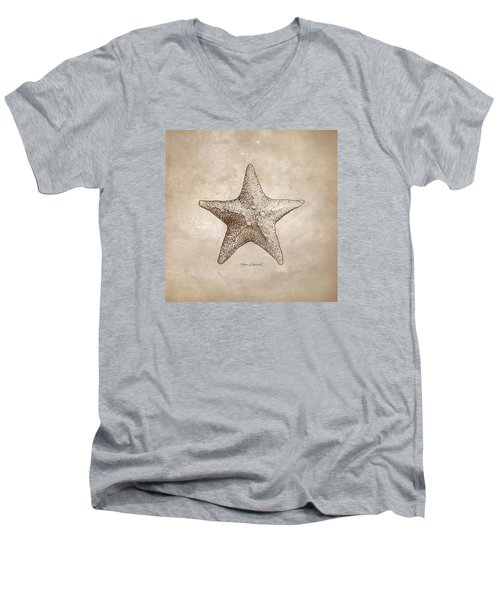 Men's V-Neck T-Shirt featuring the drawing Distressed Antique Nautical Starfish by Karen Whitworth