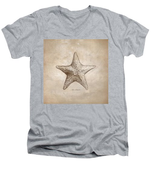 Distressed Antique Nautical Starfish Men's V-Neck T-Shirt