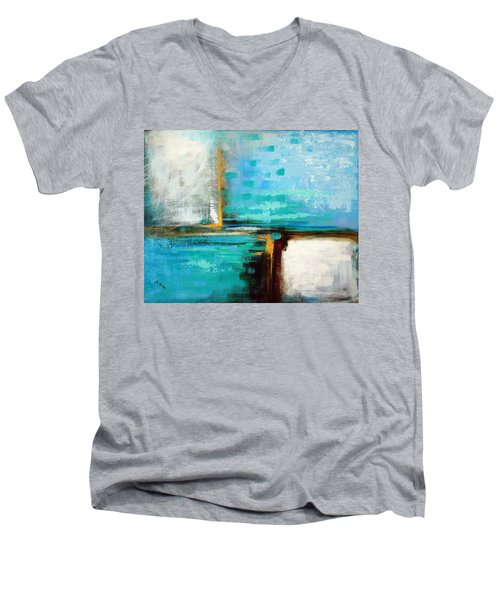 Men's V-Neck T-Shirt featuring the painting Divided Loyalties by Suzanne McKee