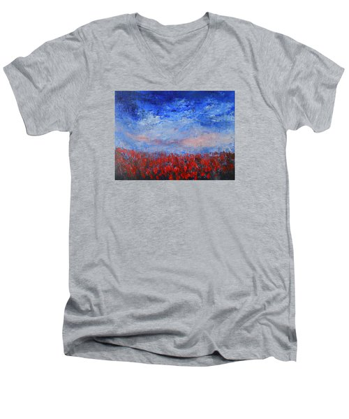Men's V-Neck T-Shirt featuring the painting Divine Red by Jane See