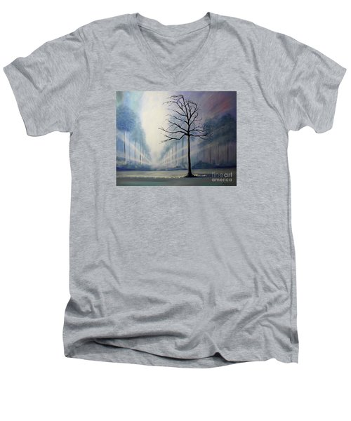 Men's V-Neck T-Shirt featuring the painting Divine Serenity by Stacey Zimmerman