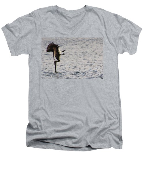 Men's V-Neck T-Shirt featuring the photograph Diving Pelican by Laurel Talabere