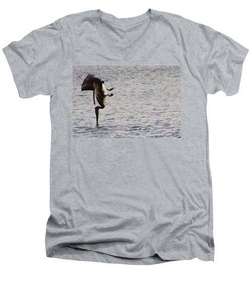 Diving Pelican Men's V-Neck T-Shirt by Laurel Talabere