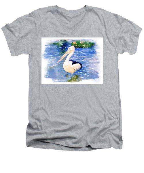 Do-00088 Pelican Men's V-Neck T-Shirt