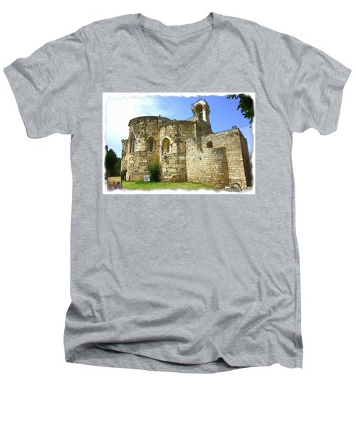 Do-00344 Church Of St John Marcus In Byblos Men's V-Neck T-Shirt