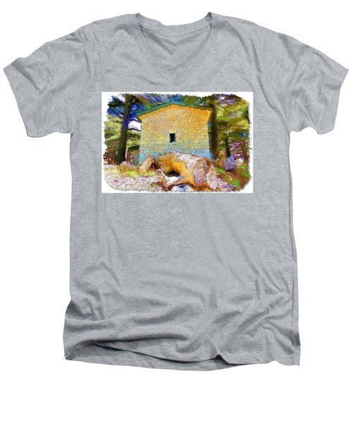 Do-00435 Building Surrounded By Cedars Men's V-Neck T-Shirt by Digital Oil