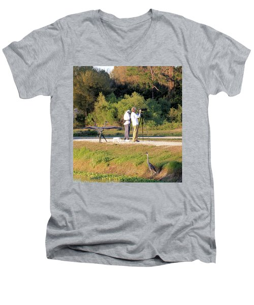 Men's V-Neck T-Shirt featuring the photograph Do You See Any Birds? by Rosalie Scanlon