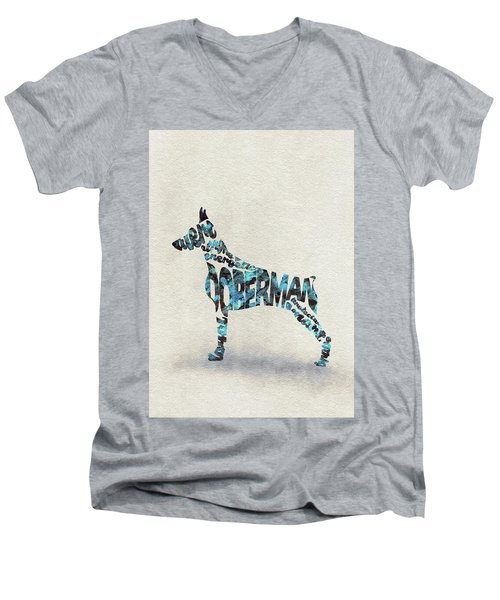 Men's V-Neck T-Shirt featuring the painting Doberman Pinscher Watercolor Painting / Typographic Art by Ayse and Deniz