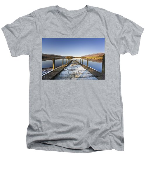 Men's V-Neck T-Shirt featuring the photograph Dock In A Lake, Cumbria, England by John Short