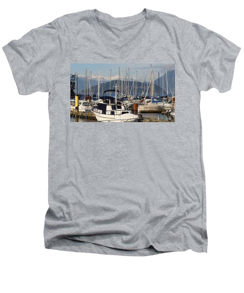 Men's V-Neck T-Shirt featuring the painting Docked For The Day by Rod Jellison