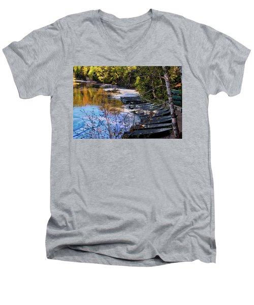 Docked Row Boats Men's V-Neck T-Shirt