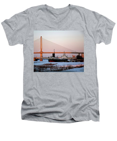 Docked Under The Glass City Skyway  Men's V-Neck T-Shirt