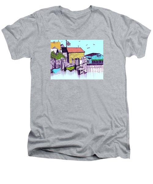 Dockside - Watercolor Sketch Men's V-Neck T-Shirt by Merton Allen